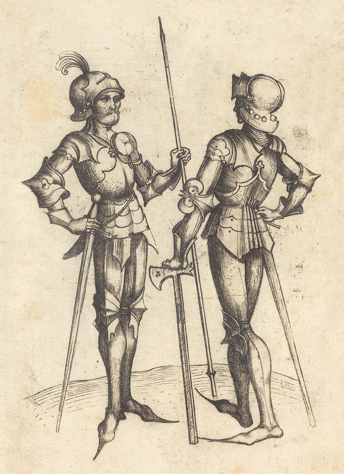 Master BM (German, active c. 1480/1500 ), Two Men in Armour, c. 1480/1490, engraving, Rosenwald Collection 1943.3.5780