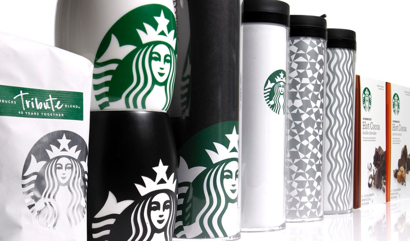 Starbucks mugs and to-go cups