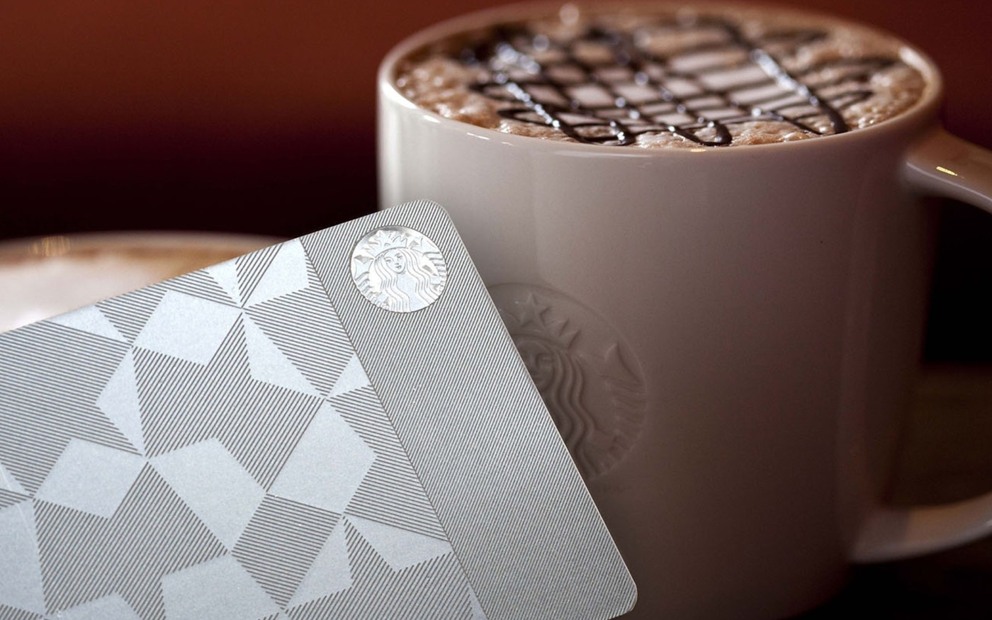 Starbucks coffee and gift card with new brand visual identity