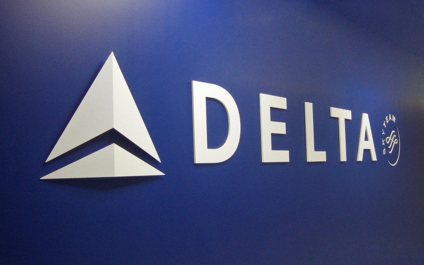 Delta Airlines new logo on wall