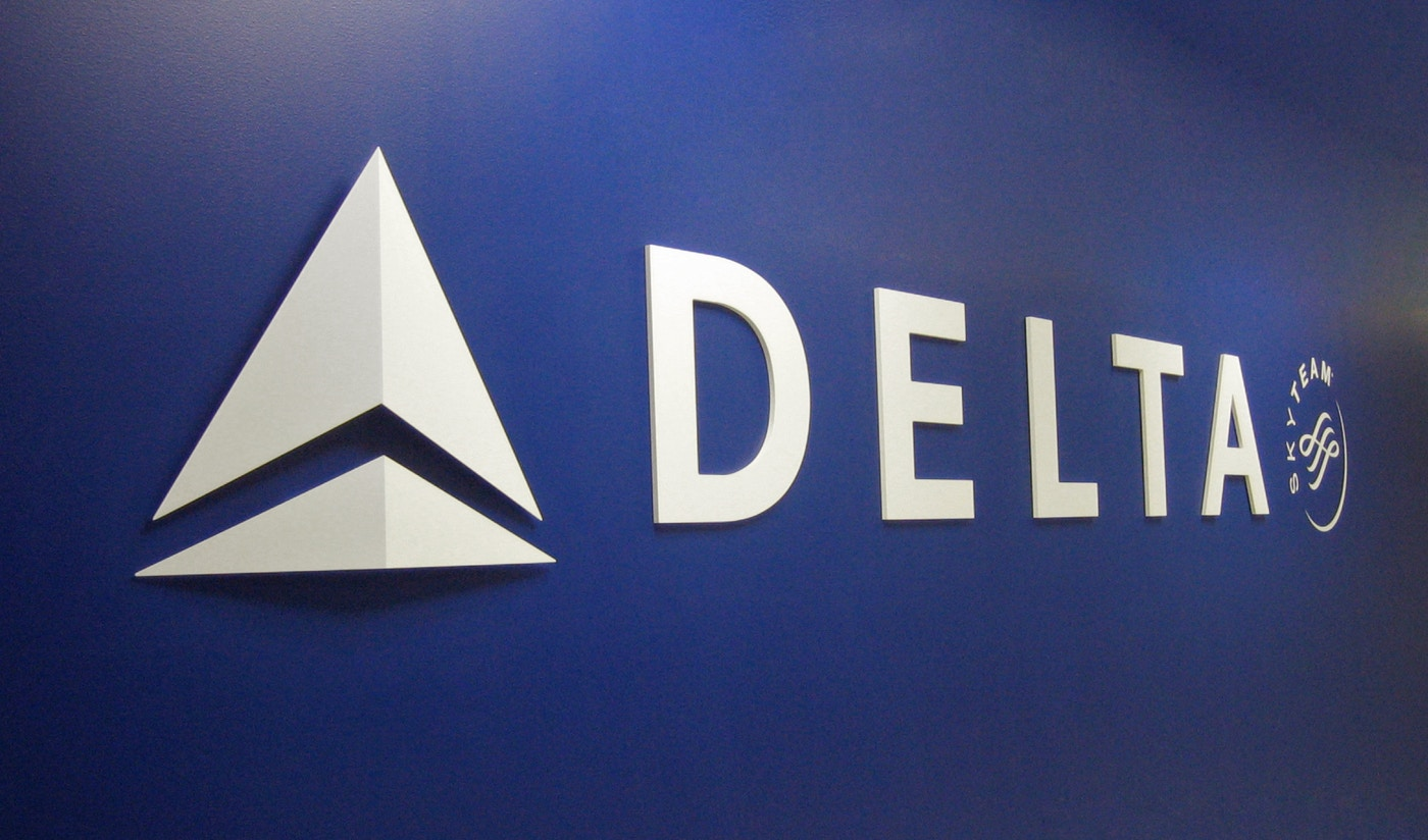 Delta airlines branded wall