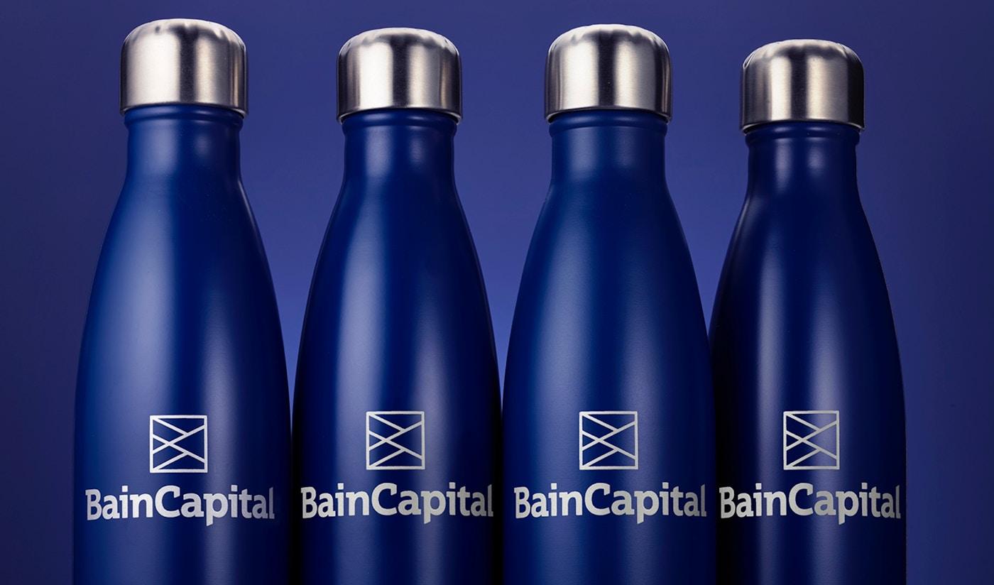 Bain Capital branded water bottles