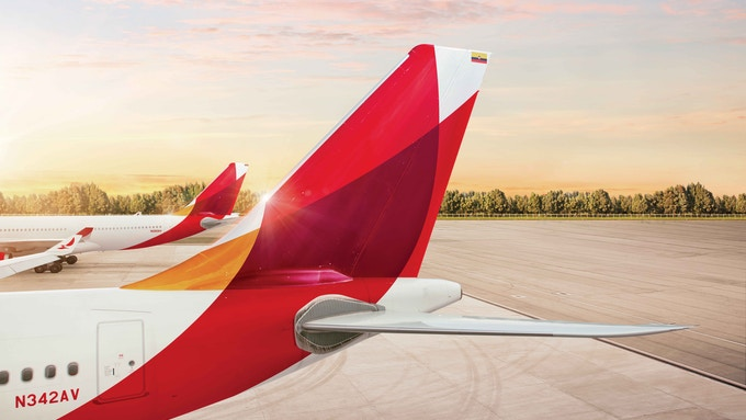 Avianca branded plane tail