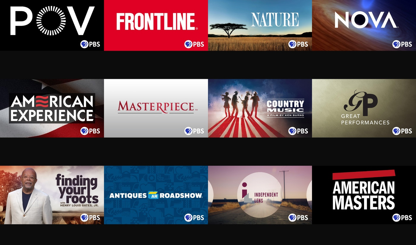 New PBS logo across diverse content