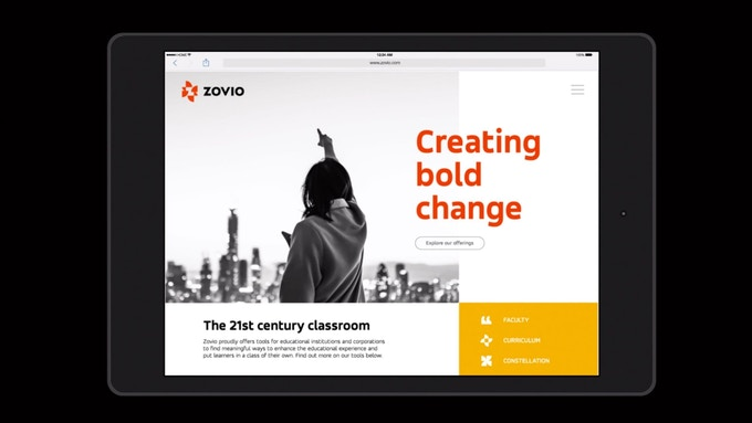 Zovio, website designed by Lippincott